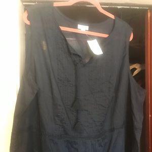 Navy blue linen boho sleeveless top.
